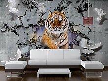 Fototapete 3D Tiger Mauer Tapeten Retro