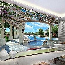 Fototapete 3D Villa Schwimmen Wand Tapete Wandbild
