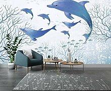 Fototapete 3D Wandbild Tapete Ozean Aquarell Tiere
