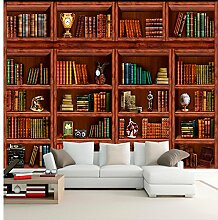 Fototapete 3D Wandtapete Wohnzimmer Bücherregal