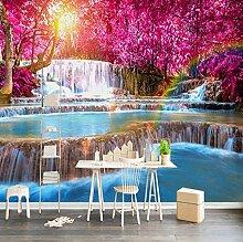Fototapete 3D Wasserfall, Blumenbaum Moderne Vlies