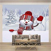Fototapete 3D Weihnachtsschneemann 250x175cm Vlies