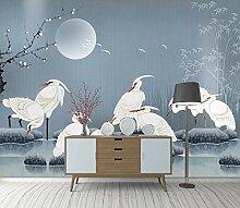 Fototapete 3D Weiße Kranichmondpflaumenblüte