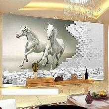 Fototapete 3D weiße Pferde ziegel wand kunst Wand