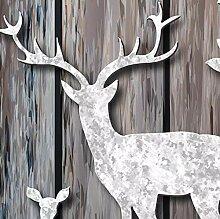 Fototapete 3D Weißer Hirsch mit Holzdieleneffekt