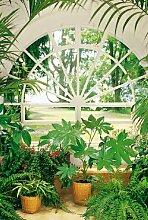 Fototapete, 4-teilig, 183x254cm, Motivtapete, Bildtapete, Wintergarten, Pflanzen, Blumen, Blumentöpfe, Wall Mural, gestochen scharfe XXL-Ansicht verfügbar