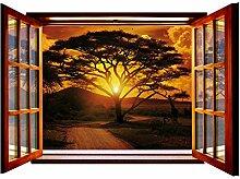 Fototapete African Sunset GIANT Fenster Form Wall Mural nicht gewebt (822vez4), 201cm x 145cm (WxH)