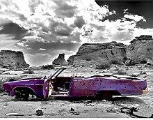 Fototapete Altes Auto Violett Grau Vlies Wand