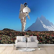 Fototapete Astronaut pflanzt Blumen Mauer Fresco