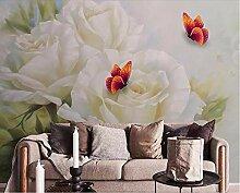 Fototapete Aufkleber Weiße Rose Schmetterling 3D