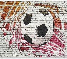 Fototapete Backsteinmauer Fußball 3D Wandbilder