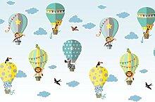 Fototapete Ballon Tiere Wolken Afrika Safari