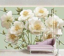 Fototapete Beigefarbene Blumen Mit Prägung