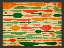 Fototapete BesteckOrange und Grün 193 cm x 250 cm