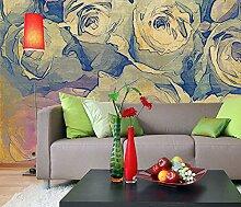 Fototapete, Bild-Tapete ROSEN- GEMÄLDE 300x250cm Wandbild Wanddekor, Bordüre