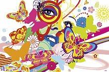 Fototapete, Bildtapete, RAINBOW FACE, Pop-Art-Tapete, bunte Schmetterlinge, Blumen und Augen, 115x175cm, 1-teilig, gestochen scharfe XXL-Ansicht verfügbar.