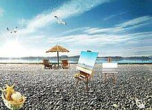 Fototapete Blauer Himmel, Weiße Wolken, Strand