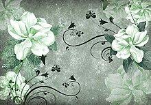 Fototapete Blüten Vintage Beton Ornament Grün