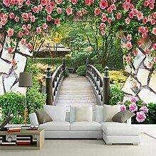 Fototapete Blume Rebe Holz Brücke Ziegel