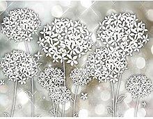 Fototapete Blumen Grau Braun Vlies Wand Tapete