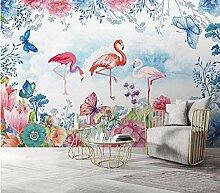 Fototapete Blumen Und Schmetterlinge Flamingo