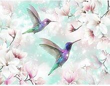 Fototapete Blumen Vogel - Vlies Wand Tapete