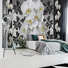 Fototapete Blumenmuster mit Orchidee 1 3,12 m x