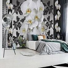 Fototapete Blumenmuster mit Orchidee 1 3,68 m x