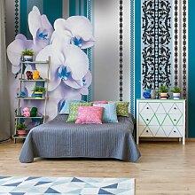 Fototapete Blumenmuster mit Orchidee 2,06 m x 275