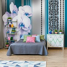 Fototapete Blumenmuster mit Orchidee 2,08 m x 146