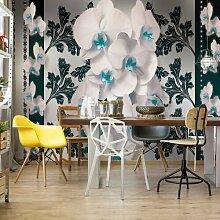 Fototapete Blumenmuster mit Orchidee in Blau 2,54
