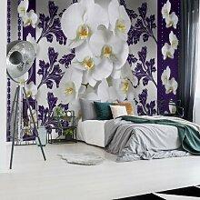 Fototapete Blumenmuster mit Orchidee in Lila 2,54