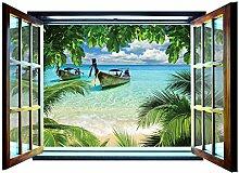 Fototapete Boot Paradise Beach Fenster Form Wall Mural nicht gewebt (826vez4), 201cm x 145cm (WxH)