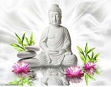 Fototapete Buddha Blumen - Vlies Wand Tapete