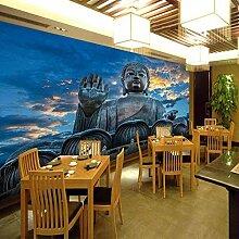 Fototapete Buddha-Figur Mauer Fresco Foto