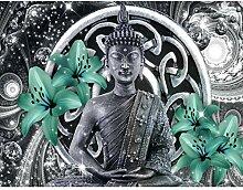 Fototapete Buddha Lilie Grün Vlies Wand Tapete