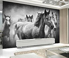 Fototapete Chinesisch Pferd Schwarzweiß Mauer