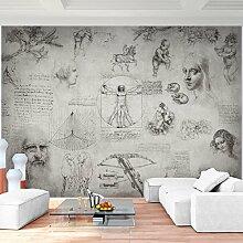 Fototapete Collage Leonardo DaVinci 352 x 250 cm - Vlies Wand Tapete Wohnzimmer Schlafzimmer Büro Flur Dekoration Wandbilder XXL Moderne Wanddeko - 100% MADE IN GERMANY - 9319011c