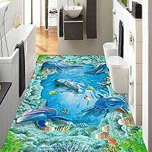 Fototapete Delfin 3D Bodenmalereier Vlies Tapete