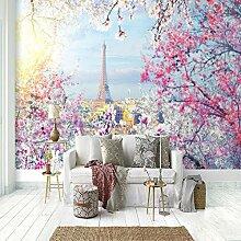 Fototapete Eiffelturm Kirschblüte Wohnzimmer