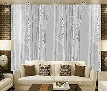 Fototapete Einfach Grau Weiß Birkenwald 3D