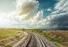 Fototapete Eisenbahn mit Sonnenuntergang am