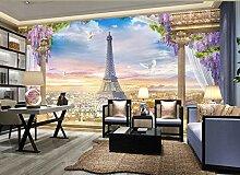 Fototapete Europäische Stereo-Paris-Landschaft 3D