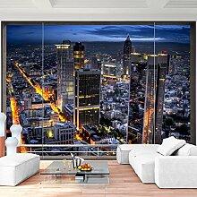 Fototapete Fenster nach Frankfurt 352 x 250 cm Vlies Wand Tapete Wohnzimmer Schlafzimmer Büro Flur Dekoration Wandbilder XXL Moderne Wanddeko - 100% MADE IN GERMANY - NY Stadt City - Runa Tapeten 9026011c