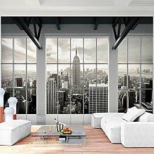 Fototapete Fenster nach New York 352 x 250 cm Vlies Wand Tapete Wohnzimmer Schlafzimmer Büro Flur Dekoration Wandbilder XXL Moderne Wanddeko - 100% MADE IN GERMANY - NY Stadt Runa Tapeten 9187011a