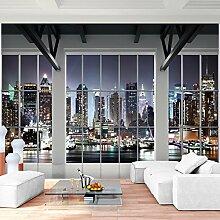 Fototapete Fenster nach New York 352 x 250 cm Vlies Wand Tapete Wohnzimmer Schlafzimmer Büro Flur Dekoration Wandbilder XXL Moderne Wanddeko - 100% MADE IN GERMANY - NY Stadt Runa Tapeten 9187011b