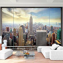 Fototapete Fenster nach New York 396 x 280 cm - Vliestapete - Wandtapete - Vlies Phototapete - Wand - Wandbilder XXL - !!! 100% MADE IN GERMANY !!! Runa Tapete 9026012a
