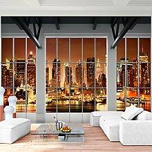 Fototapete Fenster nach New York Vlies Wand Tapete Wohnzimmer Schlafzimmer Büro Flur Dekoration Wandbilder XXL Moderne Wanddeko - 100% MADE IN GERMANY - NY Stadt Runa Tapeten 9187010c