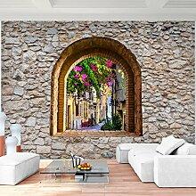Fototapete Fenster Toscana Vlies Wand Tapete Wohnzimmer Schlafzimmer Büro Flur Dekoration Wandbilder XXL Moderne Wanddeko - 100% MADE IN GERMANY - Steinwand Runa Tapeten 9017010a