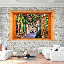 Fototapete Fenster zu Athen Griechenland 352 x 250 cm Vlies Wand Tapete Wohnzimmer Schlafzimmer Büro Flur Dekoration Wandbilder XXL Moderne Wanddeko - 100% MADE IN GERMANY - Runa Tapeten 9211011a